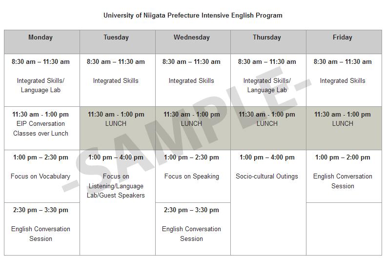 Nigata Schedule